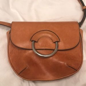Leather crossbody bag with silver ring detail